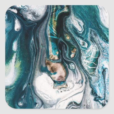 Beach Themed ABSTRACT ART PRINT TEAL WHITE COPPER SQUARE STICKER