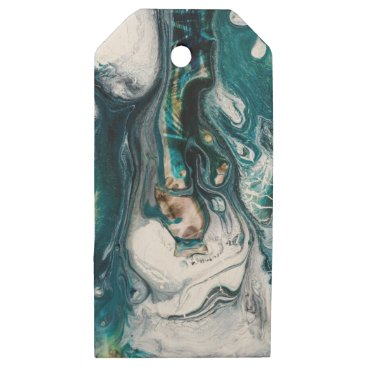 Beach Themed ABSTRACT ART PRINT TEAL WHITE COPPER WOODEN GIFT TAGS
