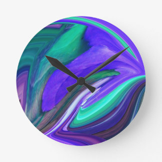 Abstract Art Purple N Teal Leaf Round Clock