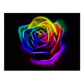 Abstract Art Rainbow Rose Postcard