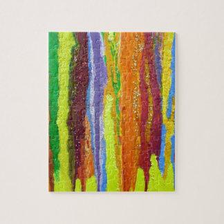 Abstract Art rainbow stripes paint drip Jigsaw Puzzle