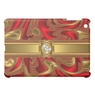 Abstract Art Red Gold Diamond jewel Cover For The iPad Mini