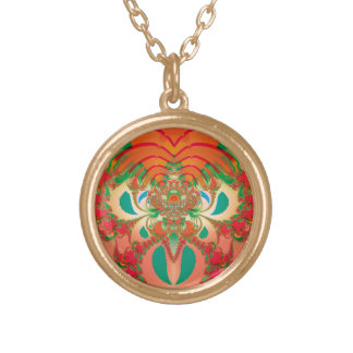 Abstract Art Red Owl Gold Plated Necklace