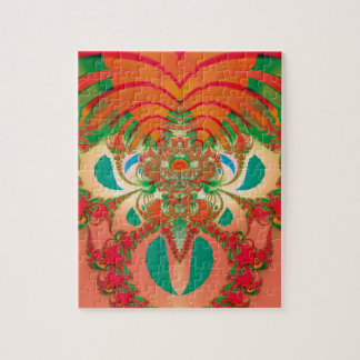 Abstract Art Red Owl Jigsaw Puzzle