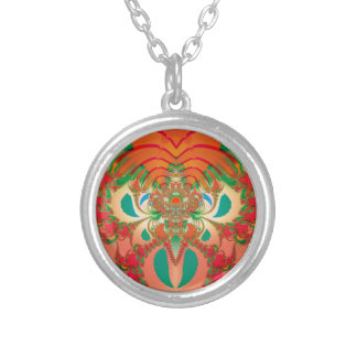 Abstract Art Red Owl Silver Plated Necklace