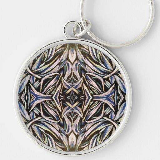 Abstract Art Silver Black Symmetrical Design Keychain