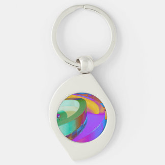 Abstract Art Silver Swirl Key Chain