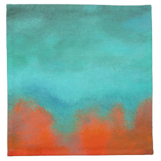 Abstract Art Sky Fire Lava Coral Turquoise Orange Cloth Napkin
