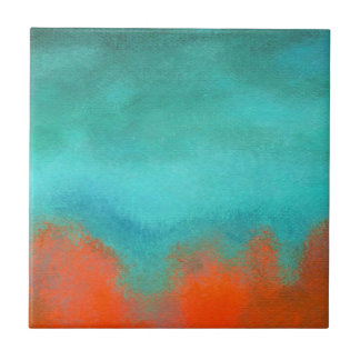 Abstract Art Sky Fire Lava Coral Turquoise Orange Tile
