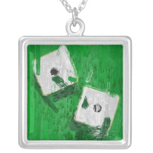 Abstract Art Snake Eyes Dice Square Pendant Necklace