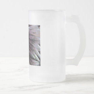 Abstract art solar feathers black violet unusual frosted glass beer mug