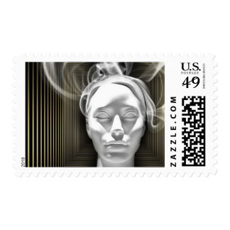 Abstract Art Soul Head Smoke Stamp