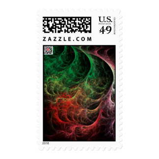 Abstract Art Space Fire Postage