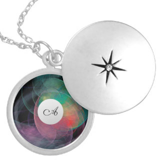 Abstract Art Space Shell Locket Necklace