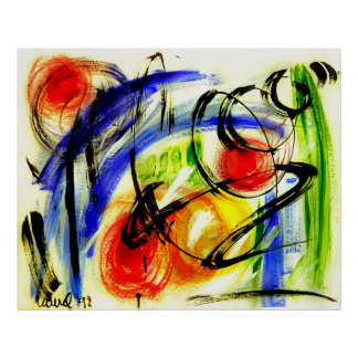 "Abstract Art ""Space Travel"" Painting Poster"