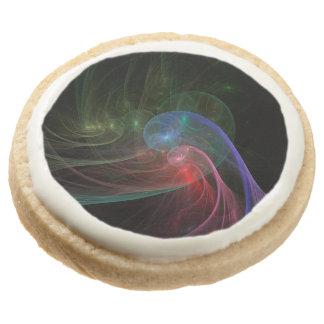 Abstract Art Space Wave Round Premium Shortbread Cookie