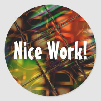 Abstract Art Stained Glass Colorful Gifts Classic Round Sticker