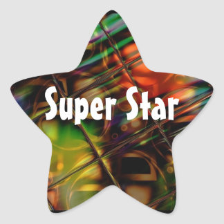 Abstract Art Stained Glass Colorful Gifts Star Sticker
