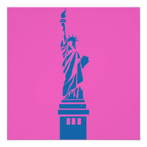 Abstract Art Statue of Liberty Poster Pink 4 ft