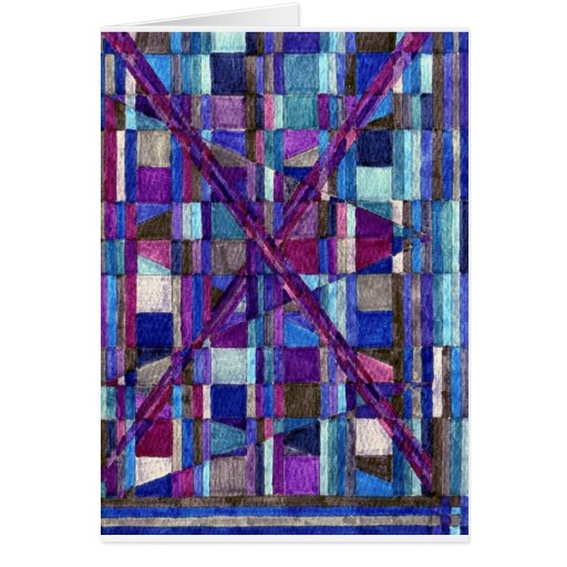 Abstract Art Study Blues & Purples Blank Card
