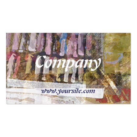 Abstract Digital Collage of Art Supplies Business Cards