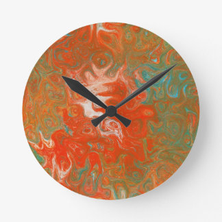 Abstract Art Swirls As Luck Would Have It Round Clock