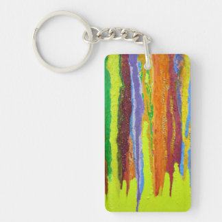 Abstract Art thick paint drip rainbow stripes Keychain