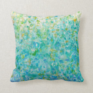 Abstract Art Turquoise Blue Light Yellow Pillow