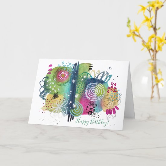 Abstract Art Vibrant Fun Colorful Happy Birthday Card