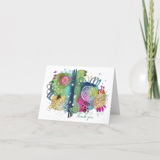 Abstract Art Vibrant Fun Colorful Modern Folded Thank You Card