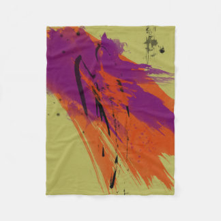 Abstract Art Watercolors Orange Purple Green Black Fleece Blanket