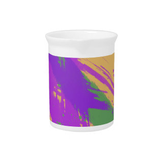 Abstract Art Watercolors Paint Purple Green Gold Beverage Pitcher