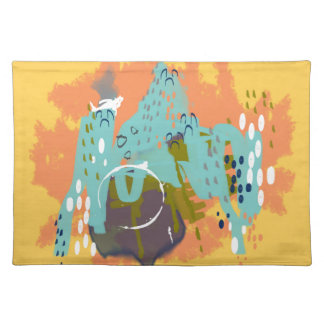Abstract Art, Whimsical Buildings Mint Orange Gold Cloth Placemat