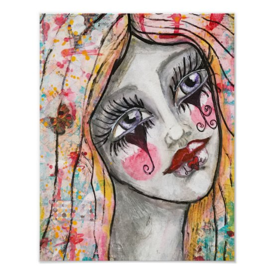 Abstract Art Whimsical Girl Mime Clown Colorful Poster