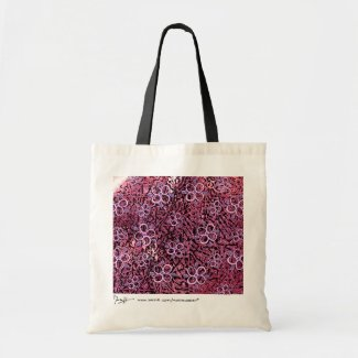 Abstract Art with Flowers Bag - Burgundy Pink bag
