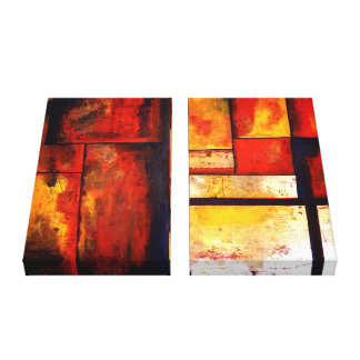 Abstract Art Wrapped 2 Canvases Set Canvas Print