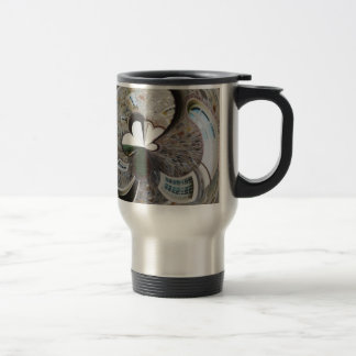 Abstract artistic background of rural house travel mug