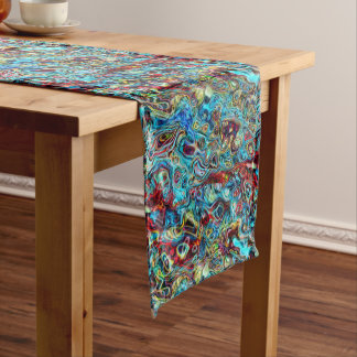 Abstract Artistic Retro Cool Waves Pattern Medium Table Runner