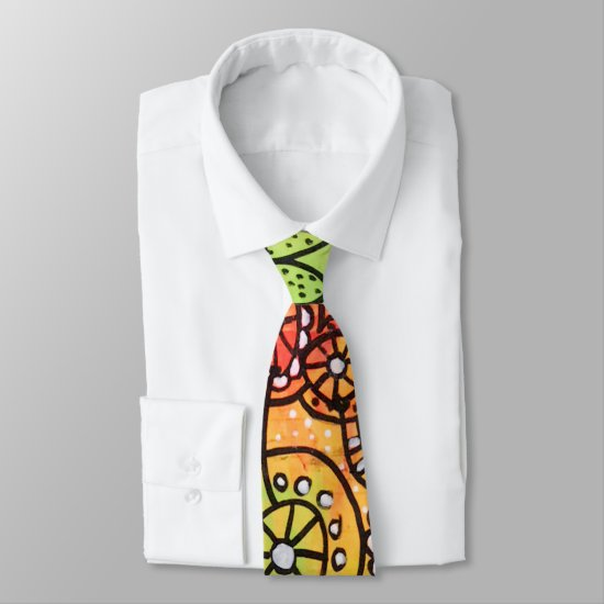 Abstract Artsy Novelty Orange Lime Green Red Cool Neck Tie