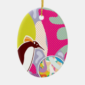 Abstract Artsy Pinguin Double-Sided Oval Ceramic Christmas Ornament