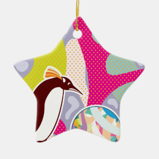 Abstract Artsy Pinguin Double-Sided Star Ceramic Christmas Ornament