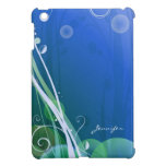 Abstract Artsy Shadow Tree and Leaf with Blue Bg | iPad Mini Cases