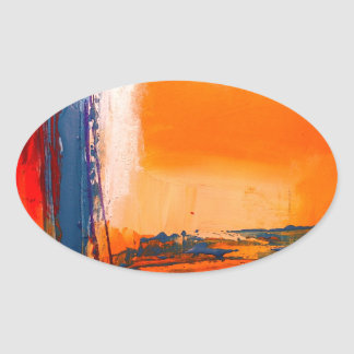 Abstract Artwork Oval Sticker