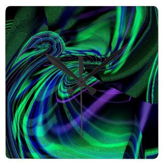 Abstract Aurora Borealis Wall Clock
