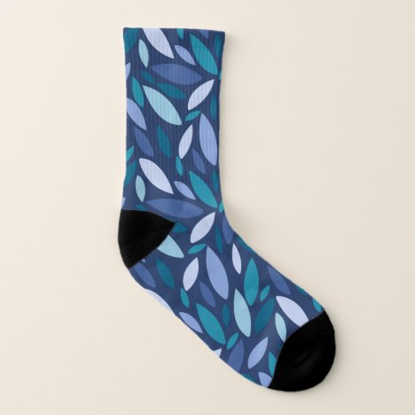 Abstract autumn leaves in blue green tones socks