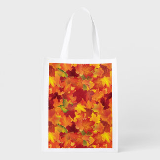 Abstract Autumn Leaves Pattern Grocery Bags