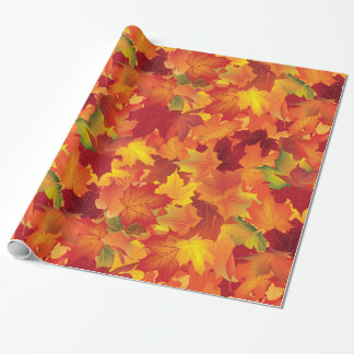 Abstract Autumn Leaves Pattern Wrapping Paper