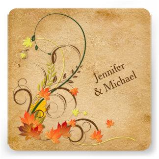Abstract Autumn Leaves Vines Wedding Invitation