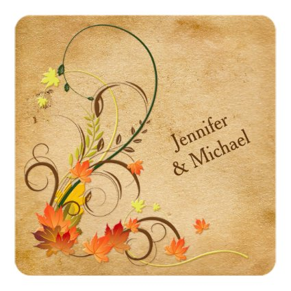 "Abstract Autumn Leaves, Vines Wedding Invitation 5.25"" Square Invitation Card"