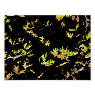 Abstract Autumn Oak Leaves Poster